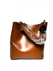 Удобная молодежная кожаная сумка с косметичкой F-157 в варриантах