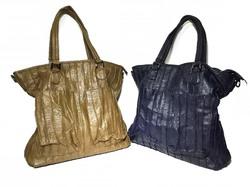 Классическая сумка из мягкой кожи 81157 в коричневом и синем цвете