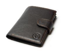 Коричневый бумажник из жесткой натуральной кожи -Tauren